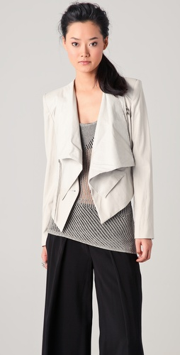 Helmut Lang Linen & Leather Combo Jacket