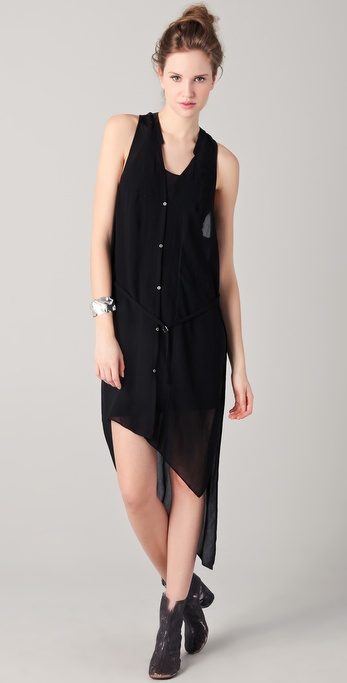 Helmut Lang Long Button Down Asymmetrical Dress