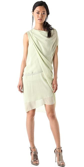 Helmut Lang Pebble Silk Belted Dress