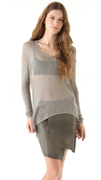 Helmut Lang Looped Silk Asymmetrical Sweater