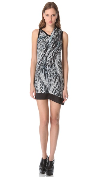 Helmut Lang Pheasant Print Voile Dress