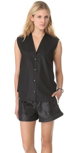 Shop Helmut Lang Chintz Sleeveless Shirt and Helmut Lang online - Apparel,Womens,Tops,Blouse, online Store
