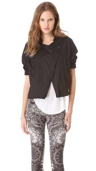 Helmut Lang Lacquered Cotton Overlap Jacket