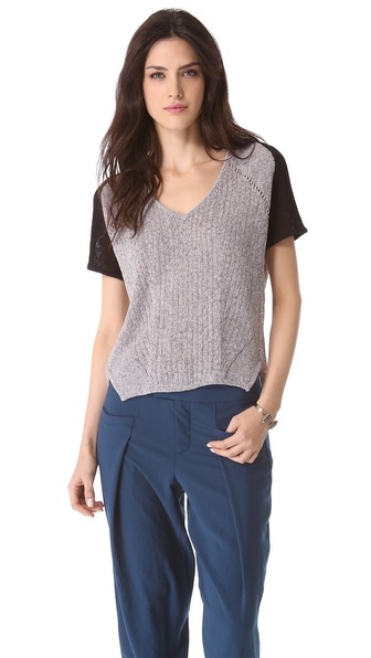 Helmut Lang Melange Short Sleeve Sweater