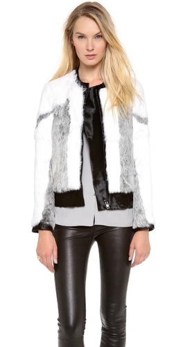 Helmut Lang Facet Fur Bomber Jacket at Shopbop / East Dane