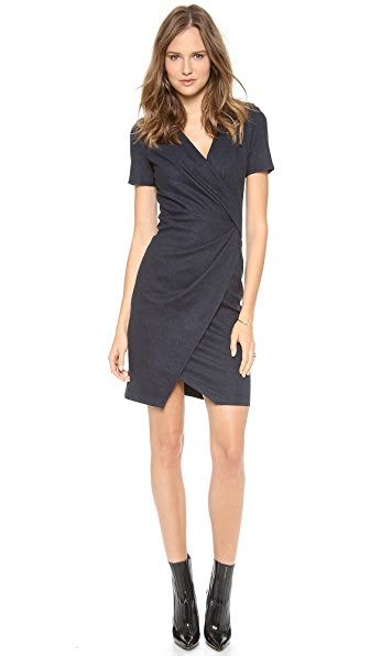 Helmut Lang Sonar Wool Drape Dress