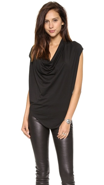Helmut Lang Feather Jersey Drape Shirt