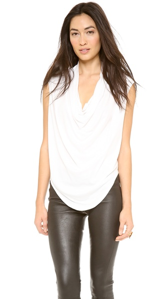 Helmut Lang Feather Jersey Draped Shirt