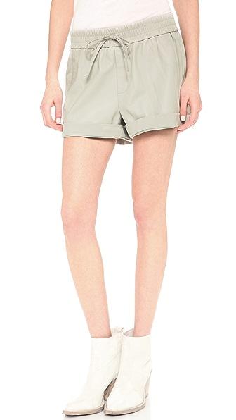 Helmut Lang Washed Leather Trimmed Shorts