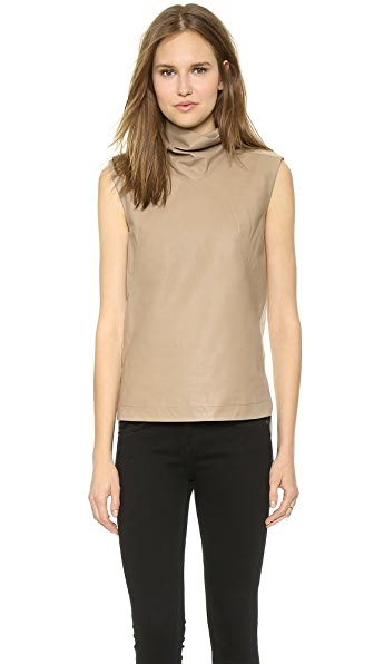 Helmut Lang Mock Neck Leather Shell Top