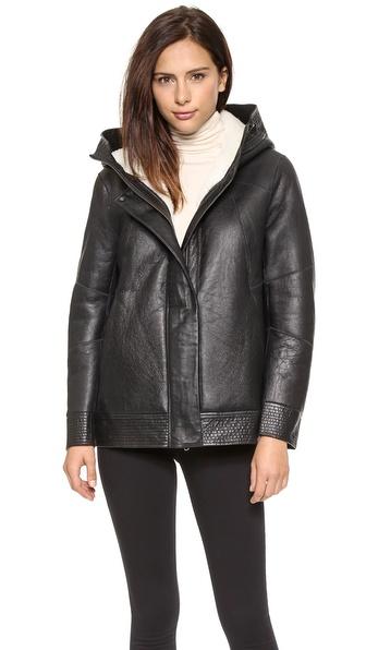 Helmut Lang Short Shearling Leather Coat