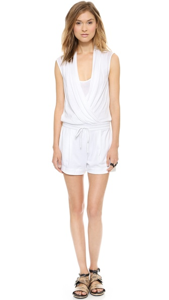 Helmut Lang Feather Jersey Wrap Romper