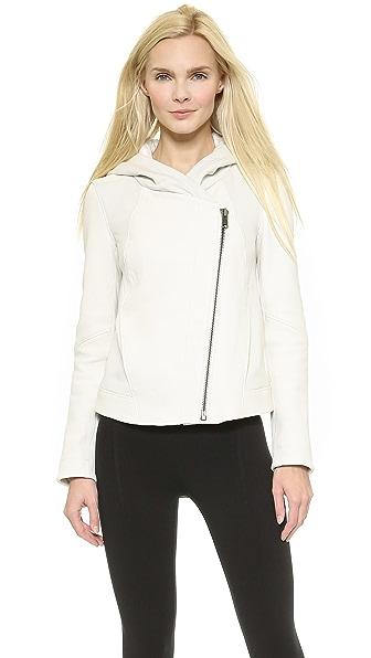 Кожаная куртка с капюшоном Helmut Lang. Цвет: серый