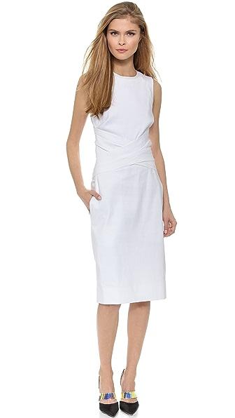 Kupi Helmut Lang haljinu online i raspordaja za kupiti Helmut Lang Rippled Cotton Dress Optic White online