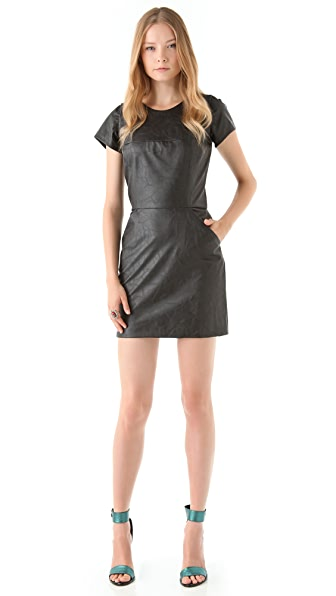 Heidi Merrick Savvy Faux Leather Dress
