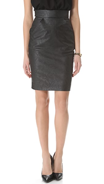 Heidi Merrick Ink Vegan Leather Skirt