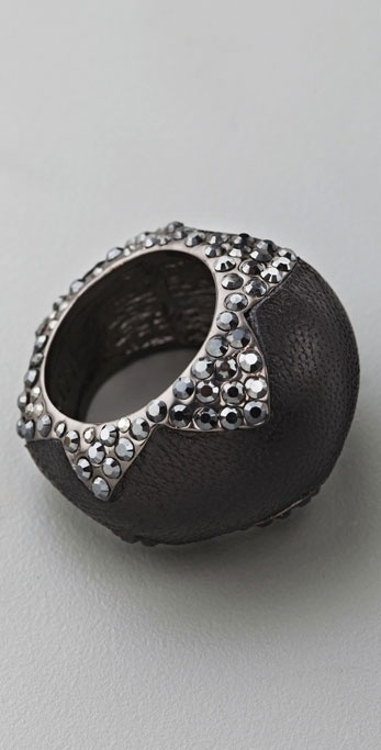 House of Harlow 1960 Leather & Crystal Cocktail Ring