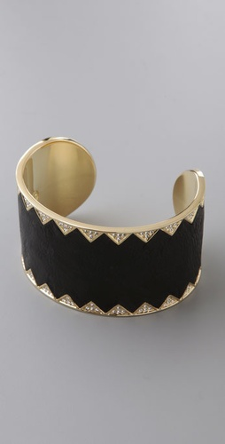 House of Harlow 1960 Crystal & Leather Cuff