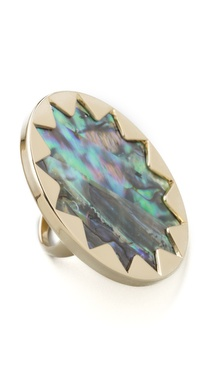 House of Harlow 1960 Abalone Sunburst Cocktail Ring