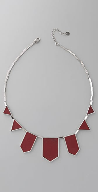 House of Harlow 1960 Leather Feather Necklace