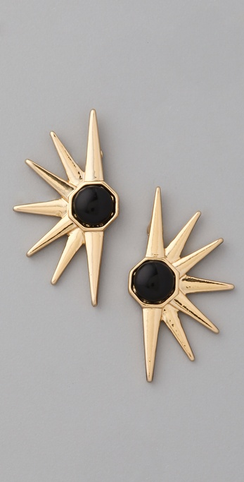 House of Harlow 1960 Star Earrings with Black Cabochon