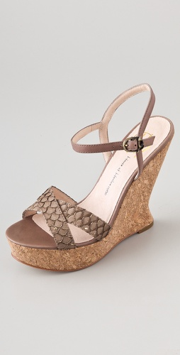 House of Harlow 1960 Pat Platform Wedge Sandals