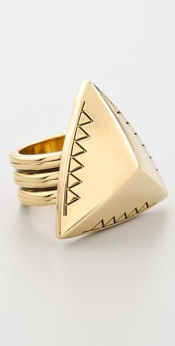 House of Harlow 1960 Engraved Faceted Pyramid Cocktail Ring