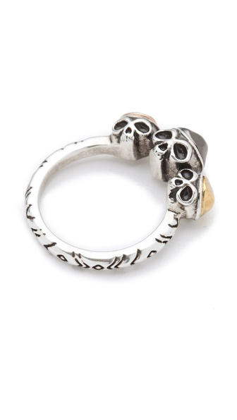 House of Harlow 1960 Triple Skull Ring