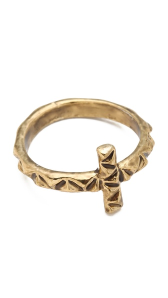 House of Harlow 1960 Faceted Cross Ring