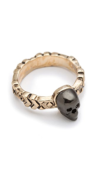 House of Harlow 1960 Engraved Skull Ring