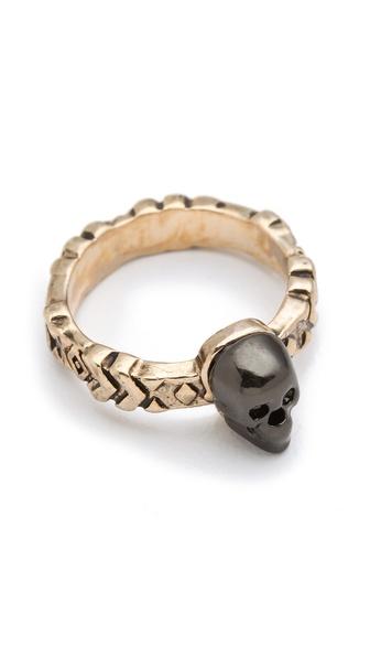 House of Harlow 1960 Engraved Skull Ring