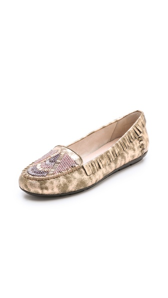 House of Harlow 1960 Marion Beaded Flat Moccasins