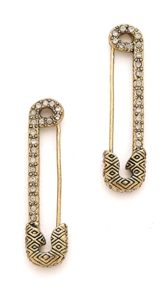 House of Harlow 1960 Safety Pin Earrings with Sparkle