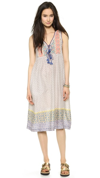 Shop House of Harlow 1960 online and buy House Of Harlow 1960 Aura Dress Border Print - A bohemian, mixed print House of Harlow 1960 midi dress with a quilted bib. Tasseled cords lace up the front. On seam pockets. Unlined. Fabric: Voile. 100% cotton. Wash cold. Imported, India. Measurements Length: 44in / 112cm, from shoulder Measurements from size S. Available sizes: XS