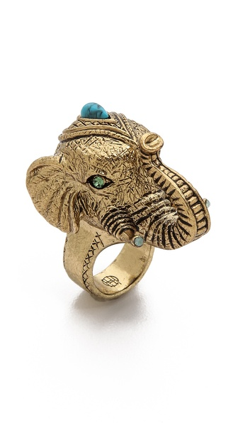 House of Harlow 1960 Elephant Prosperity Ring