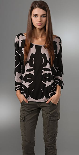 MONROW Brocade Wide Neck Tee