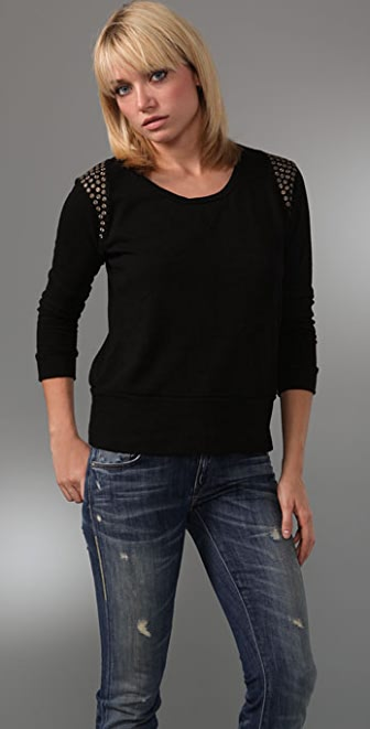 MONROW Studded Crew Neck Sweatshirt