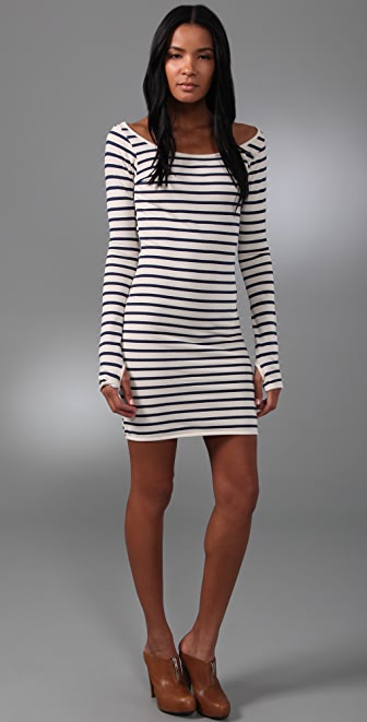 MONROW Striped French Terry Dress