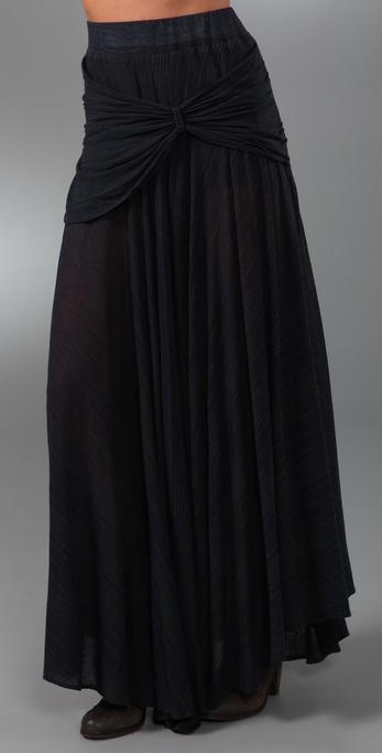 MONROW Mini Stripe Shirred Long Skirt