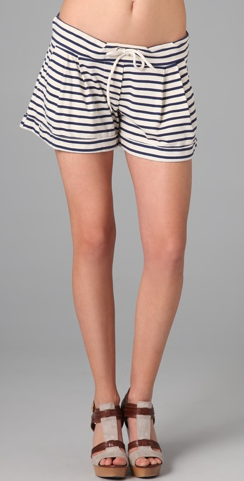 MONROW Striped Mini Shorts