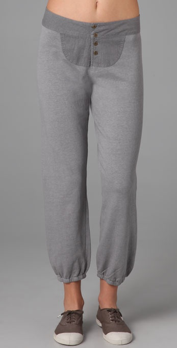MONROW Fleece Sweatpants with Linen Panel
