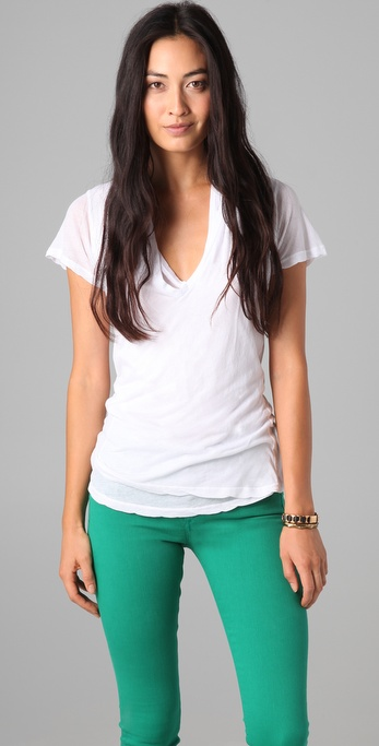 MONROW Double Tissue V Neck Tee