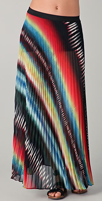 MONROW Southwest Chiffon Pleated Maxi Skirt