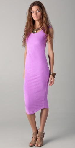 MONROW Cap Sleeve Midi Dress