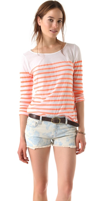 MONROW Striped Boat Neck Top