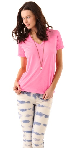 MONROW Neon V Neck Tee