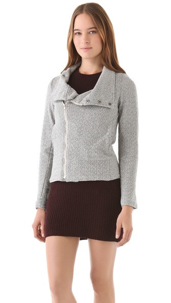 MONROW Knit Moto Jacket with Mock Neck