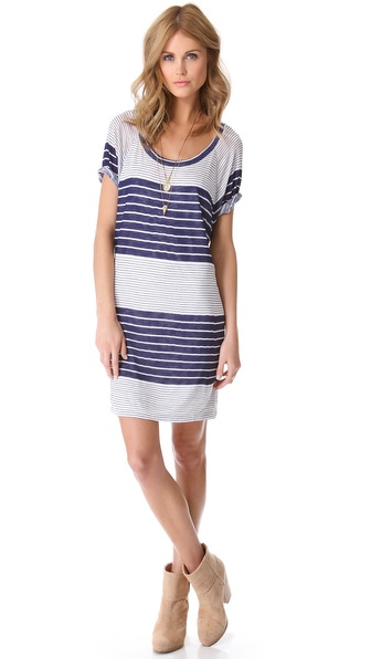 MONROW Mixed Stripe Raglan Dress