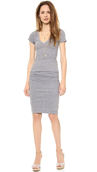 MONROW Short Sleeve Shirred Dress