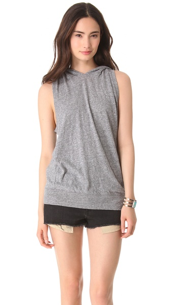 MONROW Granite Jersey Sleeveless Hoodie